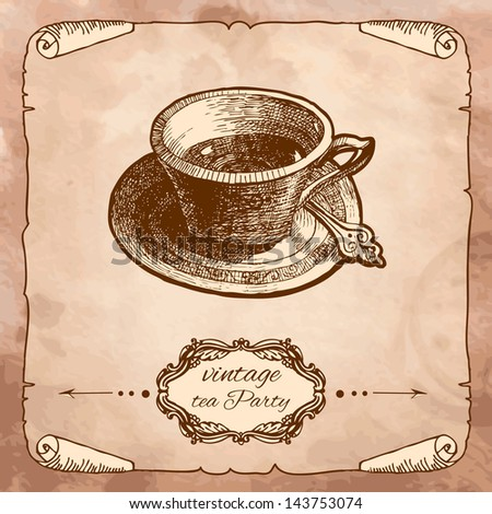 Cup icon isolated on vintage background. Hand drawing sketch vector illustration - stock vector