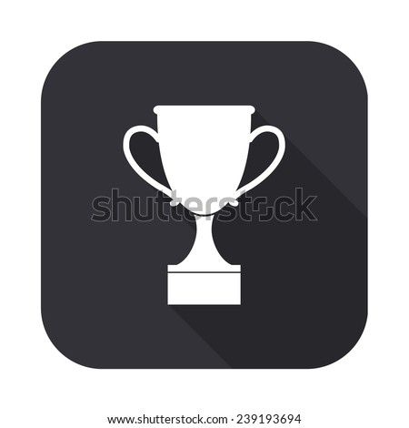cup icon - vector illustration with long shadow isolated on gray - stock vector