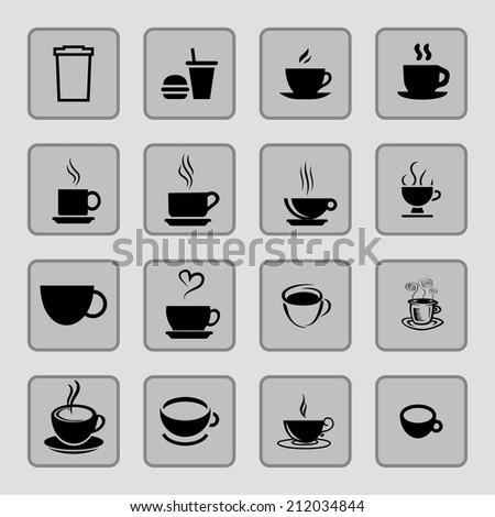 cup icons - stock vector