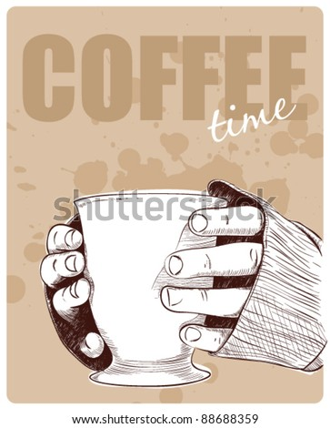 Cup in hands. Vector illustration. - stock vector