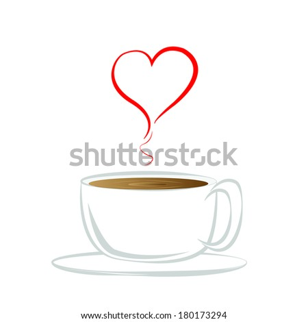 Cup (mug) of hot drink (coffee, tea etc),heart coffee