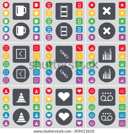 Cup, Negative films, Stop, Arrow left, Link, Graph, Cone, Heart, Cassette icon symbol. A large set of flat, colored buttons for your design. Vector illustration - stock vector