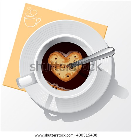 Cup of black coffee - stock vector