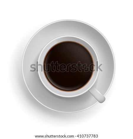 Cup of black coffee. Realistic top-view vector illustration.