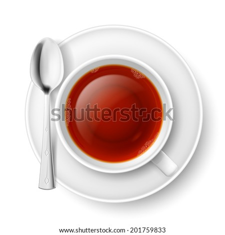 Cup of black tea with spoon over white background