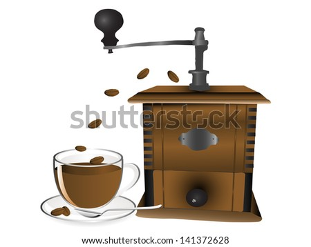 Cup of caffee, grinder and coffee beans - stock vector