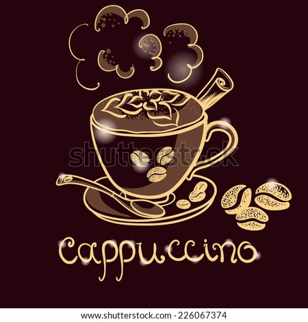cup of cappuccino coffee for decorate the cafe - stock vector