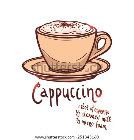 cup of Cappuccino Coffee on white background with typography, hand drawn illustration - stock vector