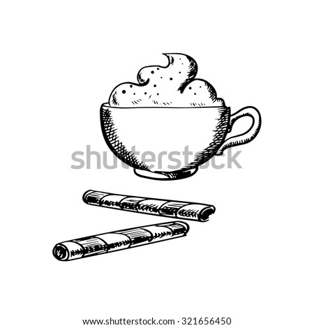 Cup of cappuccino coffee with whipped cream and chocolate wafer rolls. Isolated on white background, sketch style - stock vector