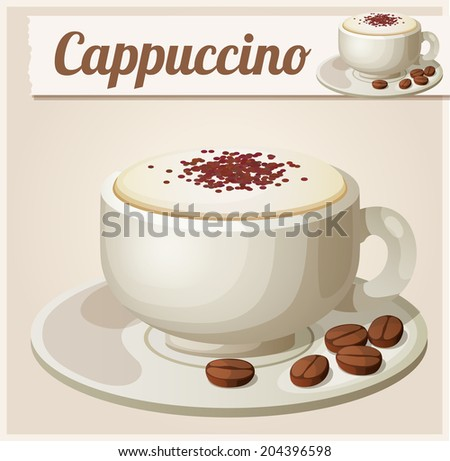 Cup of cappuccino. Detailed Vector Icon. Series of food and drink and ingredients for cooking. - stock vector