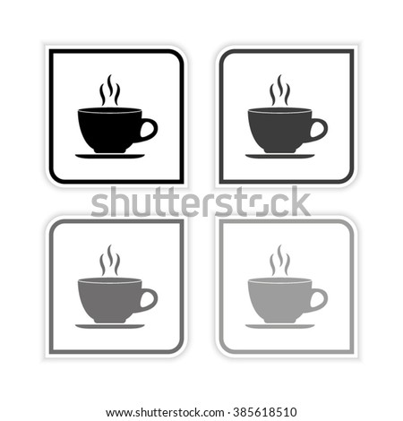 Cup of cofee  - grayscale vector icon - stock vector