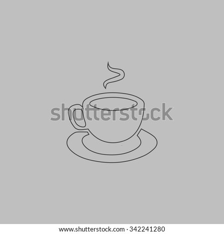 Cup of coffe. Outlne vector icon on grey background