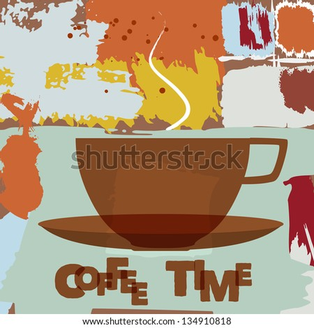 cup of coffee, abstract menu design, free copy space - stock vector