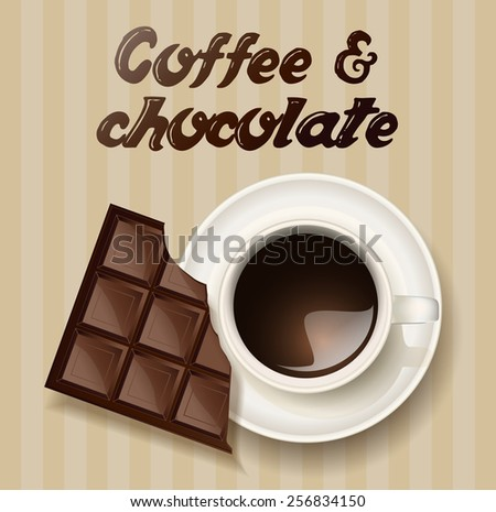 cup of coffee and a chocolate - stock vector