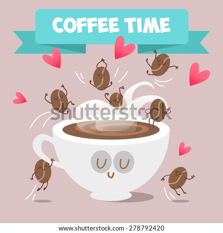 Cup of coffee and coffee beans frolicking. Cappuccino, cocoa. Hot drink. Everyone needs coffee. Vector illustration of comic characters coffee and cocoa beans.  - stock vector