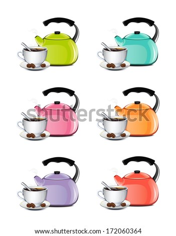 Cup Of Coffee And Kettle Set - stock vector
