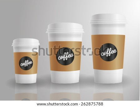Cup of coffee and milk drink isolated - stock vector