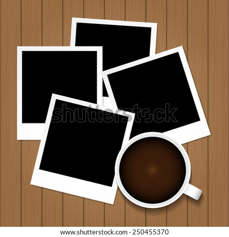 Cup of coffee and photo frame on vintage wooden texture background. Vector illustration - stock vector