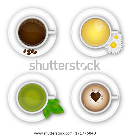 Cup of coffee and tea - stock vector