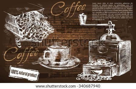 cup of coffee. beautiful background made by hand - stock vector