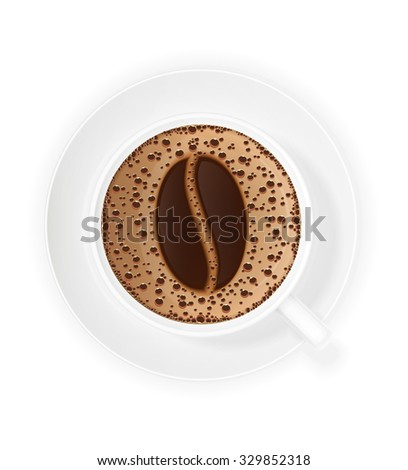 cup of coffee crema and symbol beans vector illustration isolated on white background