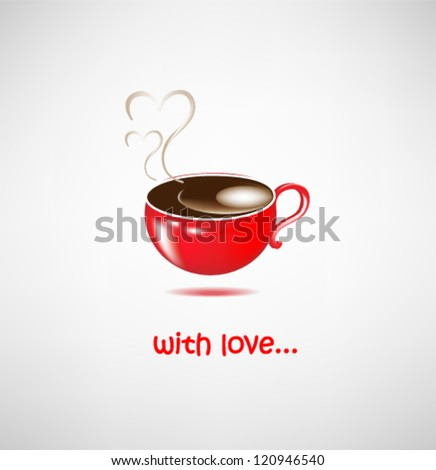 cup of coffee for lovers valentine - stock vector