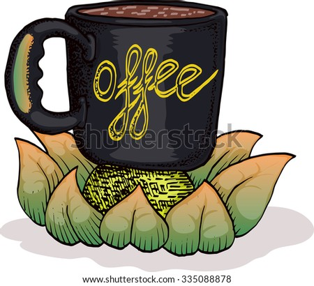 cup of coffee hand draw vector illustration - stock vector