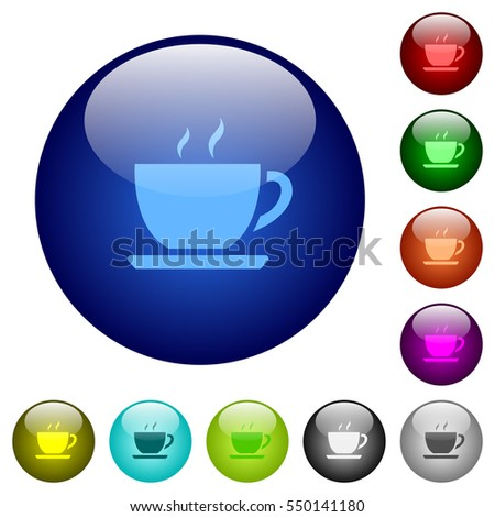 Cup of coffee icons on round color glass buttons