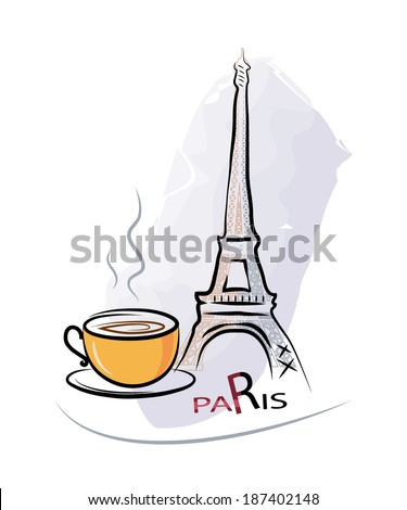 Cup of coffee in a Paris cafe - stock vector