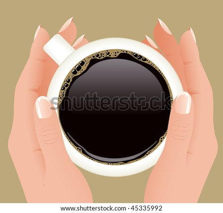 Cup of coffee in hands, vector illustration - stock vector