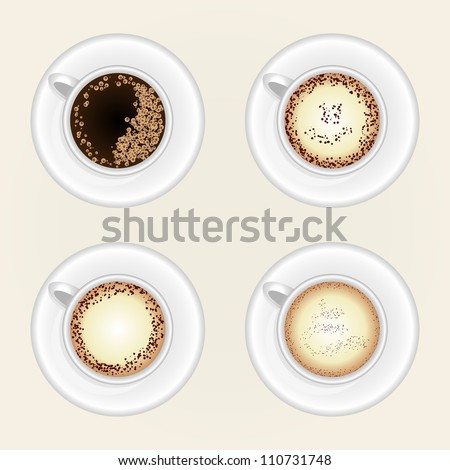 Cup Of Coffee in Top View, Top view of black coffee cup isolated on white background. Photo-realistic vector.