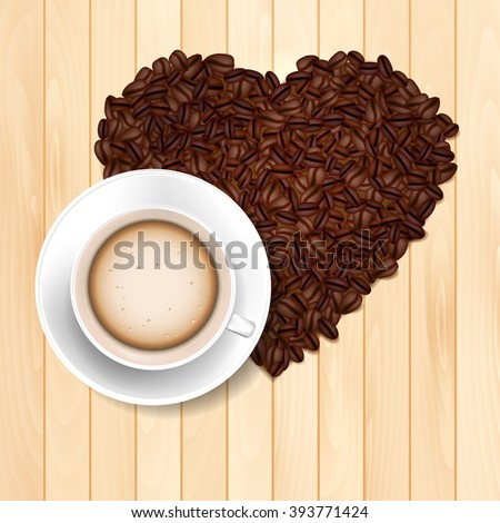 Cup of coffee on the wooden table and coffee beans heart shape - vector illustration - stock vector