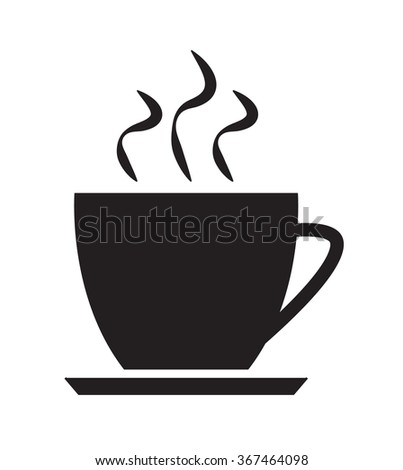 Cup of coffee or tea. Hot drink icon isolated on white background - stock vector