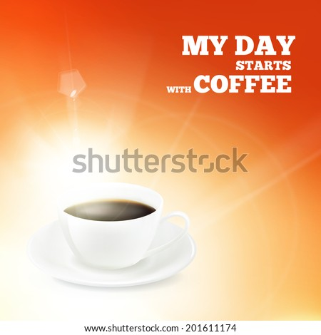 Cup of coffee over red backround. Vector illustration. - stock vector