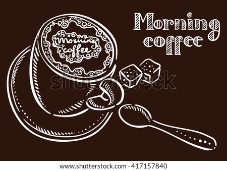 cup of coffee, spoon and sugar lettering