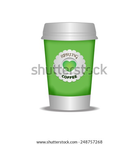 Cup of coffee to go. The template for printing the logo or picture. Spring bright green glass. - stock vector