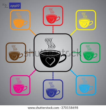 Cup of coffee  - Valentine's Day vector icon