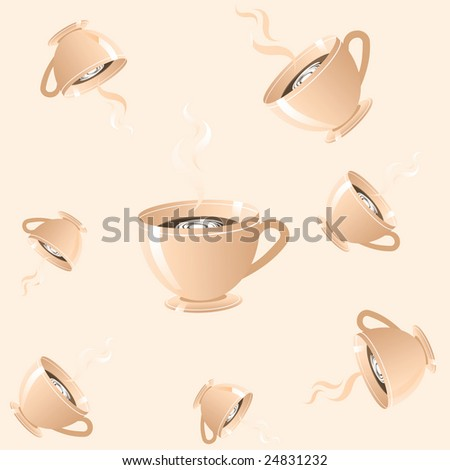 Cup of coffee. Vector seamless pattern-illustration. - stock vector