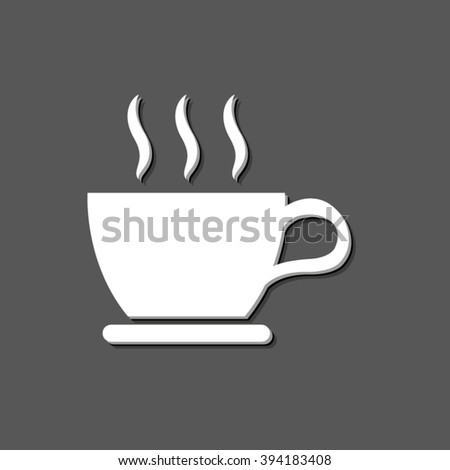 cup of coffee - white vector icon  with shadow