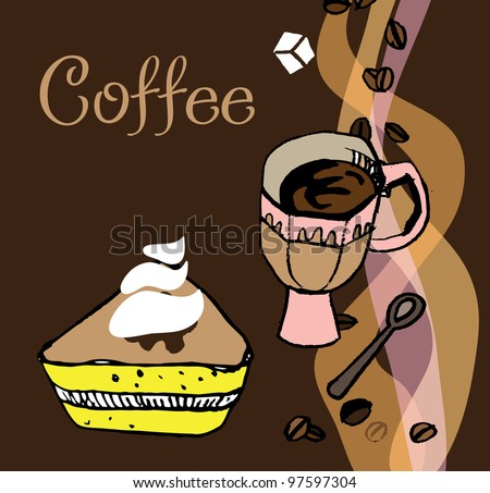 Cup of coffee with a cake. EPS 10 - stock vector