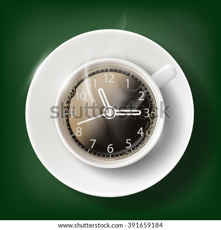 Cup of coffee with a clock face. Coffee break. Stock vector illustration. - stock vector