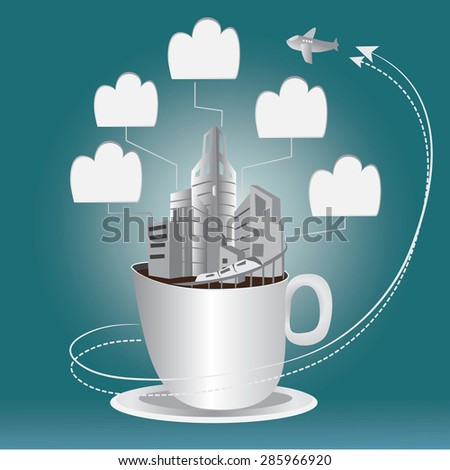 cup of coffee with city and clouds icons-illustration vector - stock vector