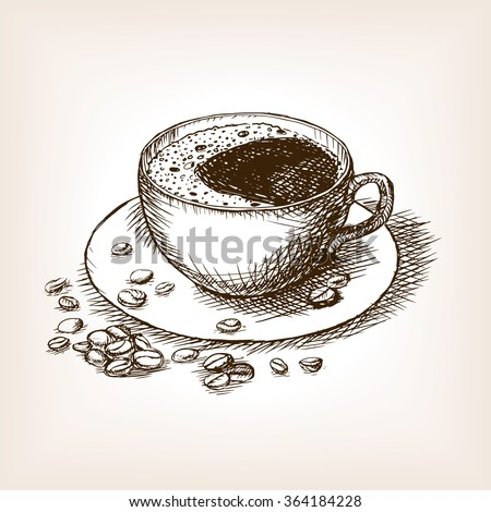 Cup of coffee with coffee beans sketch style vector illustration. Old engraving imitation. Hand drawn sketch imitation - stock vector