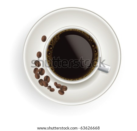 Cup of coffee with coffee grain - stock vector