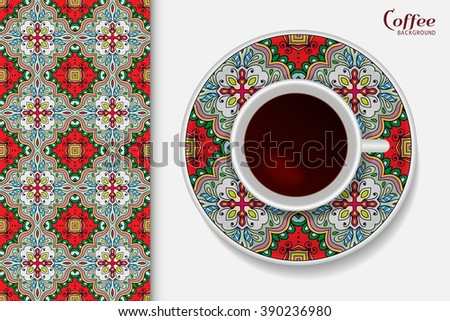 Cup of coffee with colorful geometric ornament on a saucer, seamless tribal ethnic pattern repeating texture. - stock vector