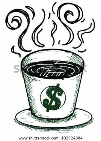cup of coffee with dollar sign - stock vector