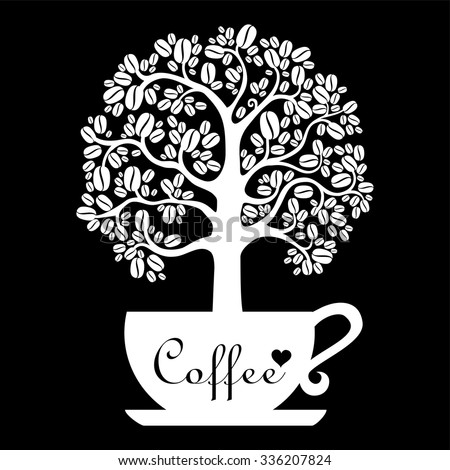 Cup of coffee with floral design elements isolated on black background. vector illustration - stock vector