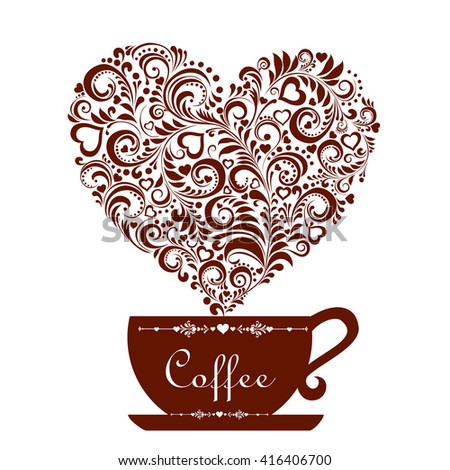 Cup of coffee with floral design elements isolated on white background. Vector Illustration - stock vector