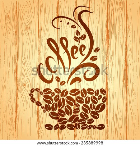Cup of coffee with floral design elements on a wooden background. - stock vector