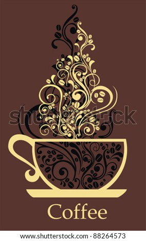 Cup of coffee with floral design elements. The cup of coffee on dark brown background. Illustration can be used to design menu restaurant or cafe.  Vector Illustration - stock vector